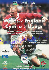 More details for wales v england 1999 rugby programme 11 april at wembley scott gibbs try