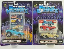 Muscle Machines Car Toons 63 corvette Blue & gold NEW 1:64