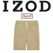 New! Izod Boys' Khaki & Navy Pull On Uniform Shorts |Plus Size| D45