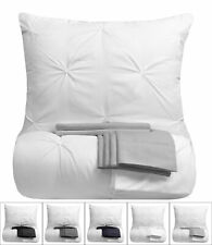 9 Piece Pinch Pleat Pintuck White Comforter Bed-in-a-Bag Set with Sheets