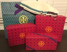 8 PC TORY BURCH Logo Pink 4 Shoe Box & Bag Sets w/ 4 Dust Bags & Gold Metal Logo