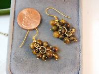 Brown Tiger's Eye Bead Cluster Gold tone Dangle Hook Wire Earrings 2d 23