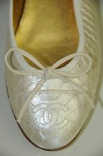 $995 NEW CHANEL IVORY PEARL WHITE PYTHON SHOES BALLERINA FLATS 35.5 5 dust bag