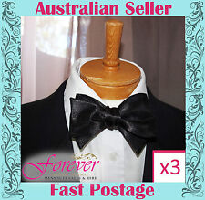 MENS SELF TIE BOW TIES X 3  - BLACK ADJUSTABLE SATIN NEW - AU SELLER