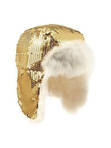 GAP GIRLS GOLD METAL FAUX FUR SEQUIN TRAPPER HAT ORG. $26.95 SMALL/MEDIUM BNWT