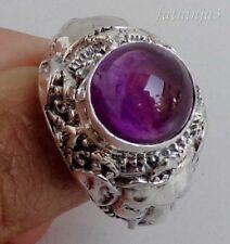 Size 6.5 (US) Amethyst Solid Silver, 925 Balinese Ganesha Design Ring 32740