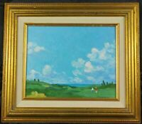Original Cape Cod Artist Gay Dickerson Oil Painting On the Fairway Listed