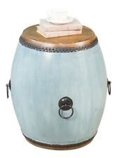 """24"""" H Michelino Set of Two End Table Wood Leather Blue Storm Finish"""