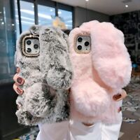 Bling Bunny Rabbit Fur Plush Fuzzy Fluffy Phone Case for iPhone 11 Pro XS Max XR