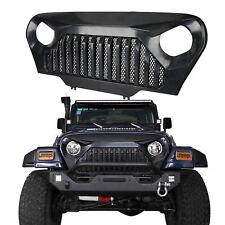 Matt Black Front Gladiator Grille Grid w/ Mesh Insert for Jeep Wrangler TJ 97-06