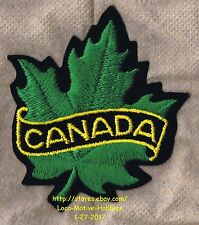 """LMH PATCH Woven Badge  CANADA GREEN MAPLE LEAF Logo Canadian Crest Insignia 3.5"""""""
