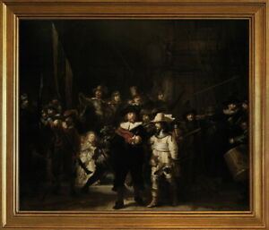 Classic Framed Rembrandt The Night Watch Giclee Canvas Print