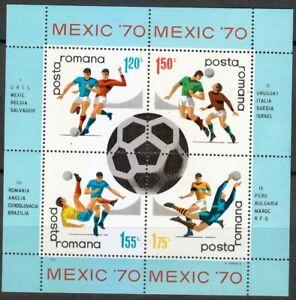 Romania 1970 MNH Mi Block 75 Sc 2178 World Soccer Championships,Mexico **