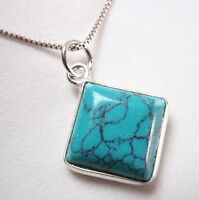 Turquoise Square 925 Sterling Silver Necklace Corona Sun Jewelry