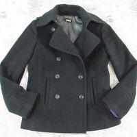 J.Crew Melton Pea Coat Womens Black Wool Jacket Double Breasted Winter Small S
