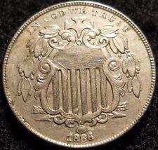 1866/66 RPD FS-304 Shield Nickel 5 Cent ~ XF / AU DETAILS ~ U.S Coin Lot 5c