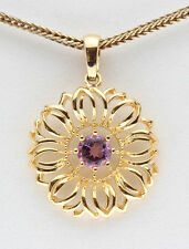 Yellow 18K Gold Sterling Silver Amethyst Pendant Flower Christmas Gift Present