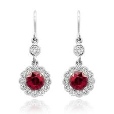 Natural Ruby 1.94 carats set in 18K White Gold Earrings