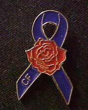 Cystic Fibrosis Purple Ribbon Red Rose Awareness Lapel Brooch Pin Tac New