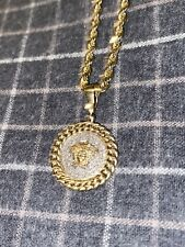 Men's Genuine Diamond Pendant with 3mm Solid 10k Gold Chain