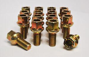 16 x M12 x 1.5, 25mm Thread, Golf VW Radius Wheel Bolts (Gold)