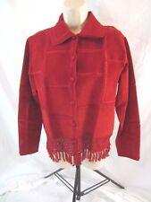 Lisa International Womens Suede Leather Coat Jacket Red Sz Medium Button 0641