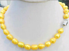 Natural 10-11mm Yellow Gold Tahitian Cultured Rice Pearl Necklace 18'' AAA