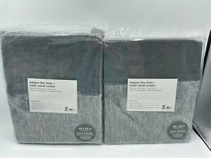 """New West Elm European Flax Linen & Luster Velvet Drapes 48"""" x 96"""" ~Slate/Pewter~"""