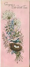 VINTAGE AQUA BLUE BLACK BIRD NEST EGGS QUEEN ANNE'S LACE FLOWERS CARD ART PRINT