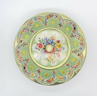 Vintage Brightly Colored Floral Covered Tin Made in Holland 8""