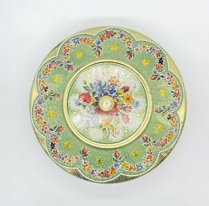 """Vintage Brightly Colored Floral Covered Tin Made in Holland 8"""""""