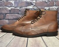 Men's Hudson Brown Leather Lace Up Brouge Ankle Boots Size UK 7 EUR 41 RRP -£110