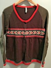 Hanna Andersson Fair Isle Sweater Brown Orange Mommy & Me S Small