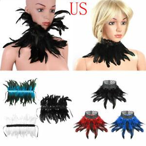 Victorian Gothic Feather False Collar Choker Shrug Shawl Shoulder Wrap Cape US