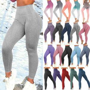 Womens Gym Seamless Fitness Leggings High Waist Stretch Sport Running Yoga Pants