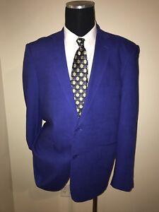 John Blair Men Blue Partial Linen  Sport Coat Jacket Blazer 46