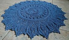 "Handmade-to-order Crochet Round Indigo Blue Cotton Rug 122cm 48"" 33 Yarn Colours"