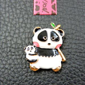 New Betsey Johnson Black White Enamel Cute Panda Baby And Mom Woman Brooch Pin