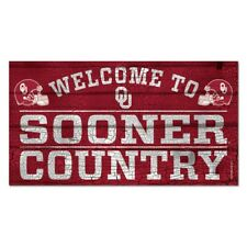 """OKLAHOMA SOONERS WELCOME TO SOONER COUNTRY WOOD SIGN 13""""X24'' NEW WINCRAFT"""