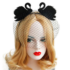 Headband Gothic Halloween Black Swan Felt Mesh Costume Ball Party Women Hairband
