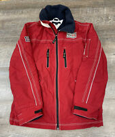 Tommy Hilfiger Jacket Medium Full Zip Fleece Lined Hideaway Hood 1985 Mens Red