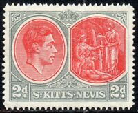 1938 St Kitts-Nevis Sg 71 2d scarlet and grey Mounted Mint