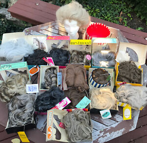 Collection of 17 Vintage Boxed Wigs & 1 Wiglet With Tags & Boxes