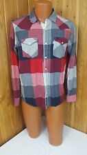 LEVI'S Men's PearlSnap Red White Blue Silver Tab Long Sleeve Patriotic Flannel M