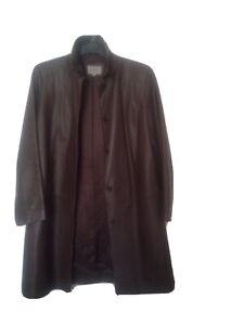 M&S Real leather Jacket Blazer UK 14 Brown Hip Length Long line smart soft feel