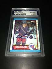Brian Leetch Signed 1989-90 Topps Rookie Card NY Rangers PSA Slabbed #83356561