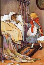 Fairy Tale Postcard: Vintage repro - Little Red Riding Hood, Wolf, M. Tarrant