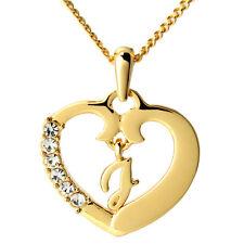 """COLLANA con cuore """"J"""" - 18CT Placcato Oro-NATALE matrimonio compleanno regalo per lei"""