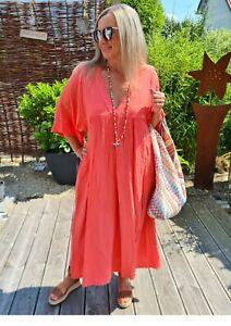 MUSSELIN DRESS VALENCIA KORALLE Tunika Kleid Beachkleid Strandkleid Italy 36-44