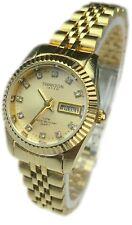 Reloj de Mujer Swanson Japan Women's Gold Day-Date Watch Gold Dial With Stone Ne